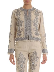 Twin-Set - Linen sand beige jacket with jewel embroidery