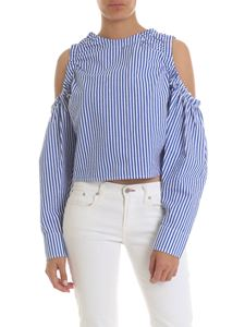 Gaelle Paris - Bare-shoulders top in blue and white stripes