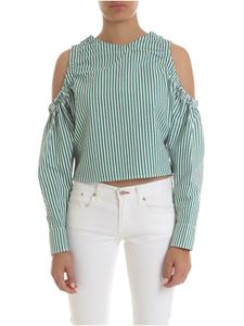 Gaelle Paris - Bare-shoulders top in green and white stripes
