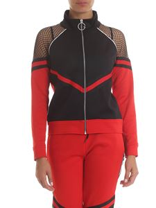 Gaelle Paris - Zipped sweatshirt in black and red with mesh