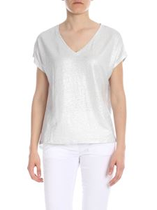 Majestic Filatures - V-neck T-shirt in silver lamè