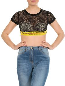 Comme des Fuckdown - Black lace crop top with branded band