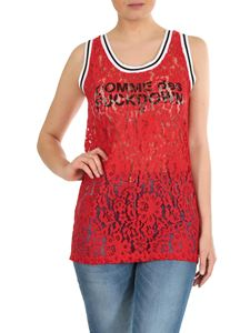 Comme des Fuckdown - Logo printed lace top in red