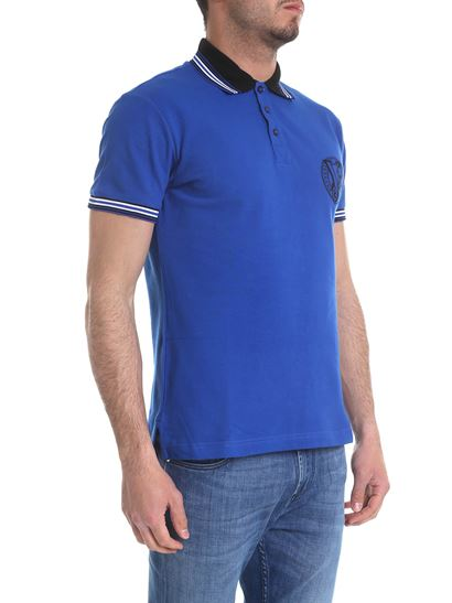6a0c780d Blue polo with black embroidered logo