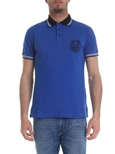 Versace Jeans - Blue polo with black embroidered logo