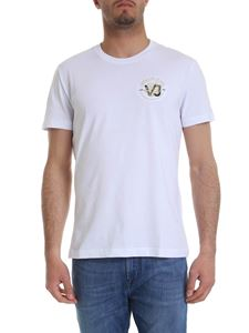 Versace Jeans - White t-shirt with golden logo embroidery