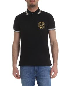 Versace Jeans - Black polo with embroidered golden logo