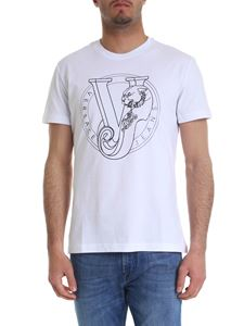 Versace Jeans - White T-shirt with black Versace print