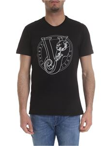 Versace Jeans - Black t-shirt with white Versace print