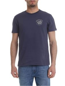 Versace Jeans - Blue t-shirt with silver logo embroidery