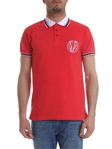 Versace Jeans - Red polo with white embroidered logo