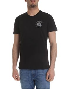 Versace Jeans - Black t-shirt with silver logo embroidery