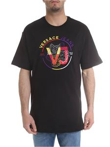 Versace Jeans - Black t-shirt with yellow and red logo embroidery