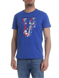 Versace Jeans - Bright blue t-shirt with red and white logo