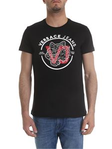 Versace Jeans - Black T-shirt with white and red logo print