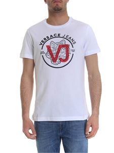 Versace Jeans - White T-shirt with black and red logo print