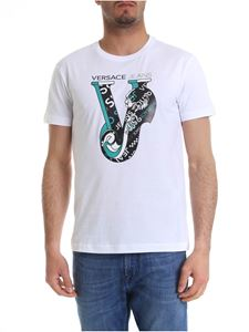 Versace Jeans - White t-shirt with black and green logo print