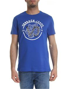 Versace Jeans - Bright blue T-shirt with white logo print
