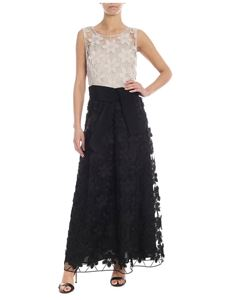 D.Exterior - Dress with floral embroidery in black and taupe