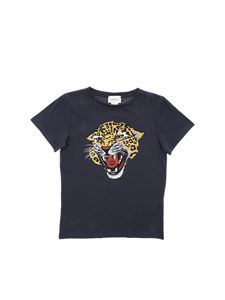 Gucci - Charcoal grey t-shirt with tiger print