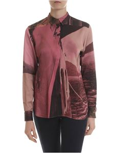 Paul Smith - Shirt in black and in shades of pink viscose