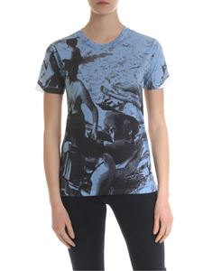 Paul Smith - T-shirt in white with maxi black and blue print