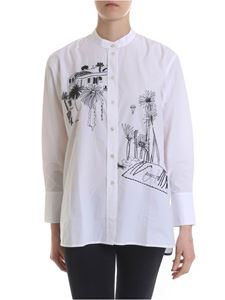 Paul Smith - Shirt in white with contrasting embroidery