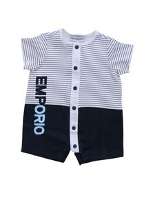 Emporio Armani - Romper in white and blue with logo print