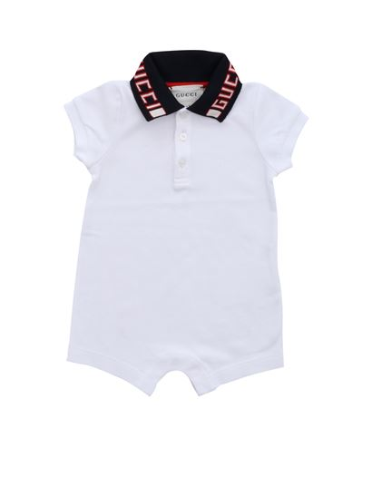 top fashion customers first hot-selling professional Romper in white with blue logo collar