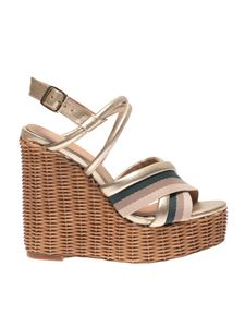 Paloma Barceló - Yves golden sandals with striped band