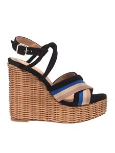 Paloma Barceló - Yves black sandals with striped band