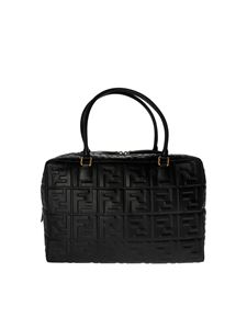 Fendi - Boston Large bag in black FF nappa leather