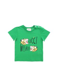 Gucci - T-shirt in green with tigers print
