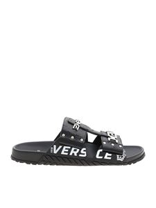 Versace - Ostrich print leather slippers in black