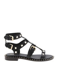 Ash - Pacific black sandals with platinum-colored studs