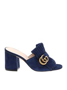 Gucci - Blue slider sandals with Double G