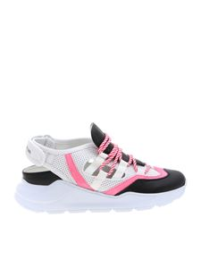 Leather Crown - White sneakers with black and pink details