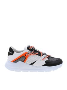 Leather Crown - White sneakers with black and orange details