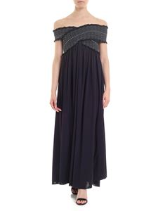 Dondup - Long dress in blue with cross