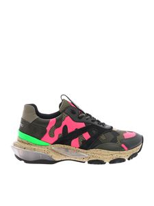 Valentino - Bounce sneakers in army green and fuchsia
