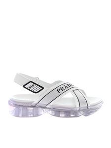 Prada - Cloudbust sandals in white with transparent sole