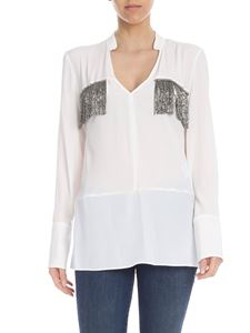 Dondup - White blouse with jewel fringes
