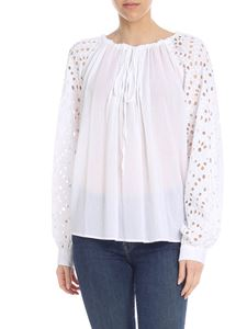 Dondup - White blouse with sangallo details