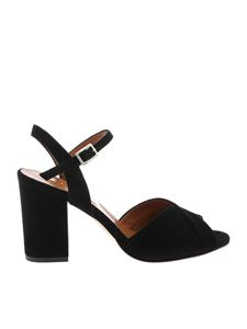 Paris Texas - Suede leather sandals in black