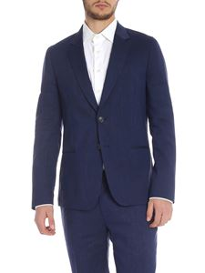 Paul Smith - Linen blend jacket in black and blue