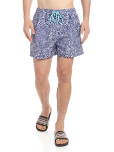 Paul Smith Swimwear - Diamond Wave boxer in blue and white