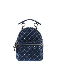 Valentino - Mini Rockstud Spike backpack in blue denim