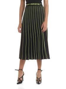 Off-White - Pleated midi skirt in black and neon green