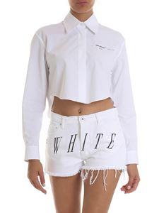 Off-White - Crop shirt in white with logo print