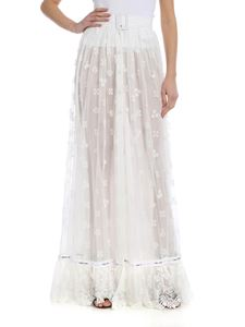 Off-White - Long skirt in white embroidered tulle